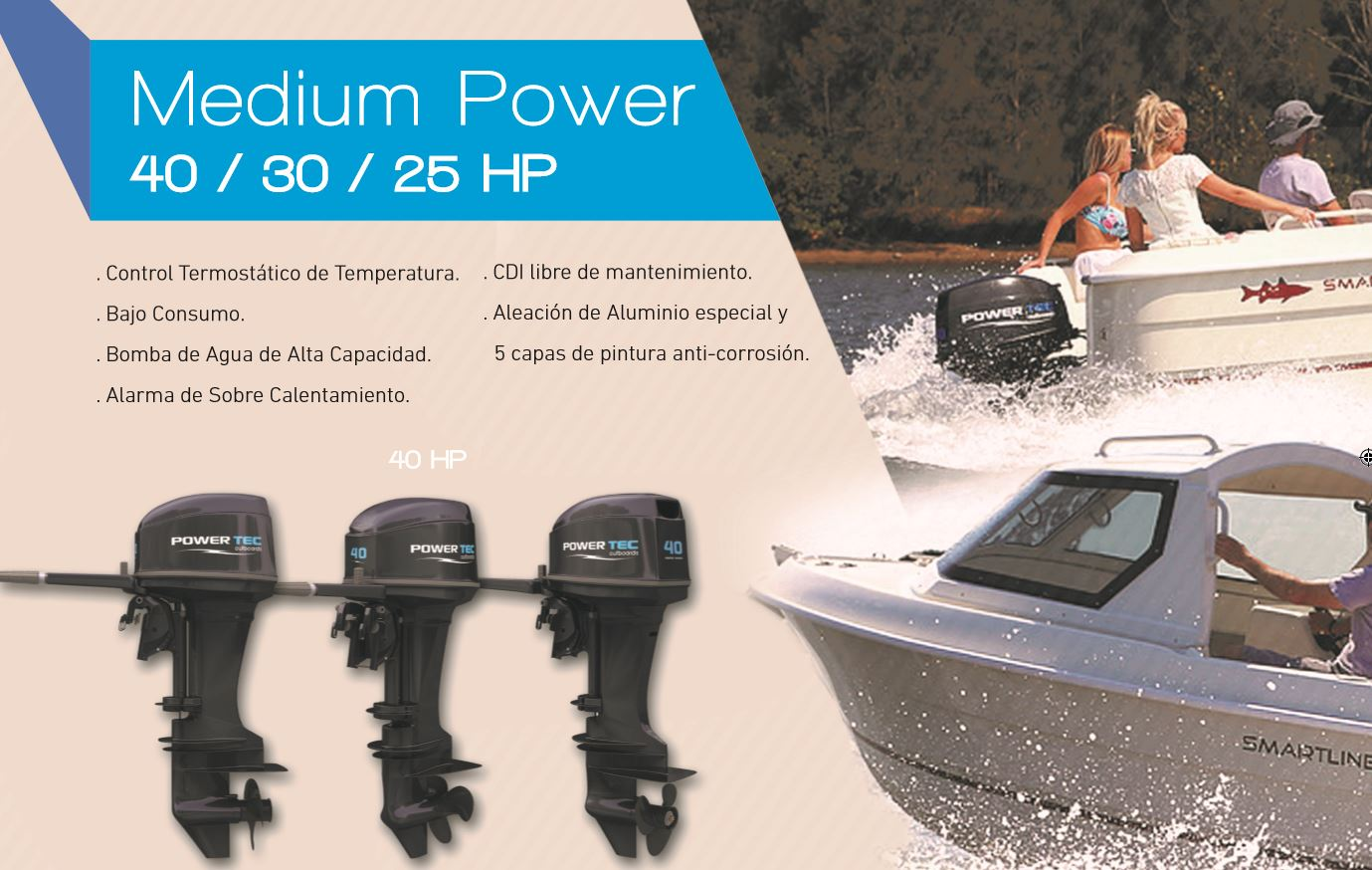 Motor Fuera de Borda PowerTec 40HP 2T Con Trim 2