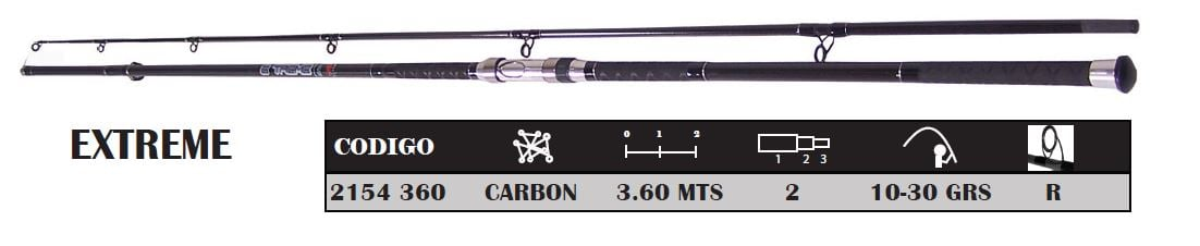 Tramo Superior para Caña Lance D.A.M Extreme Casting Surf Carbon 3.60 Mts 2