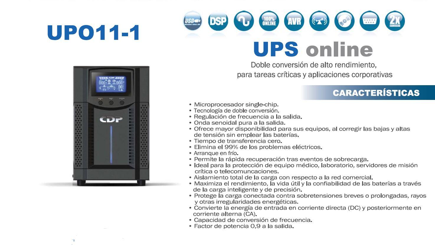 Respaldo de energia para Computadoras - UPS CDP ONLINE UPO11-1 1000VA 5
