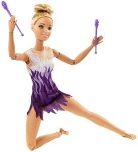 Movimientos Deportivos Barbie Doll Gimnasta rítmica ultra flexible, ¡provista de palos! 9