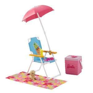 Barbie Muebles y accesorios de Exterior - Pack de pícnic con silla de playa, sombrilla y nevera 3